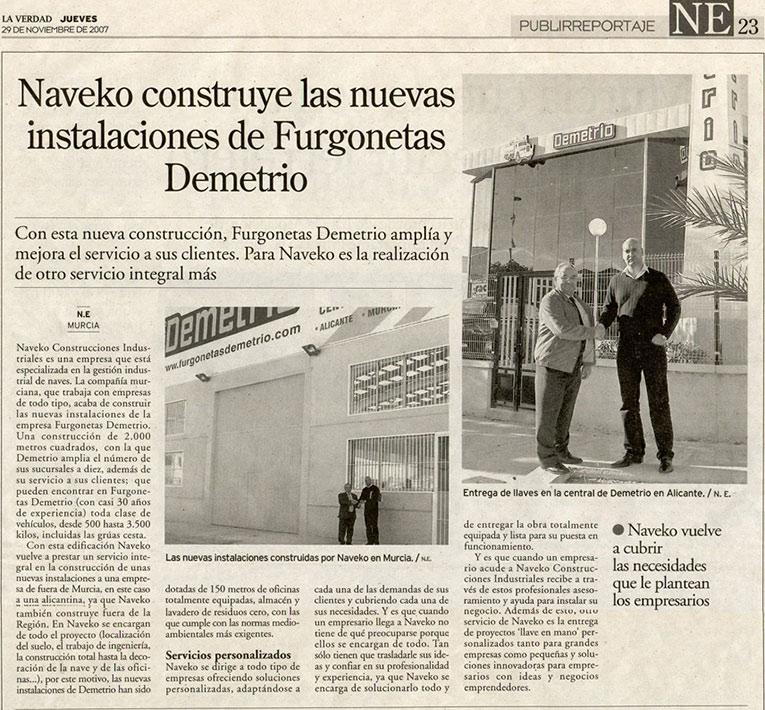 artículo sobre Construcción nuevas instalaciones de Demetrio