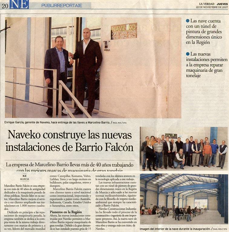 artículo sobre la Construcción de las instalaciones del Barrio Falcón